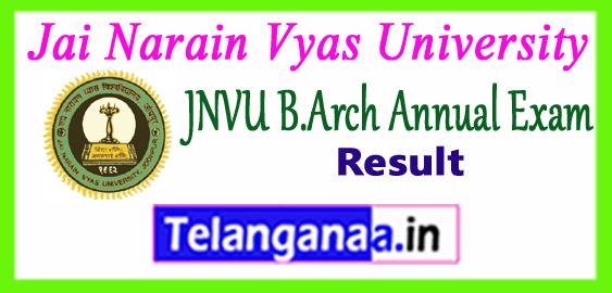 JNVU B.Arch Jai Narain Vyas University Bachelor of Architecture 1st 2nd 3rd 4th Year Result 2017