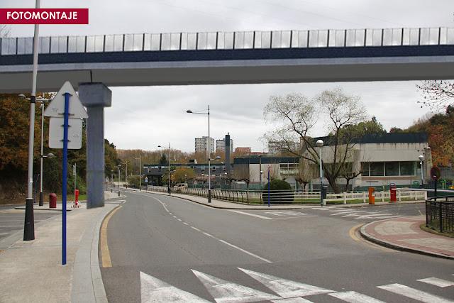 Fotomontaje del puente ferroviario previsto en la zona del polideportivo de Gorostiza