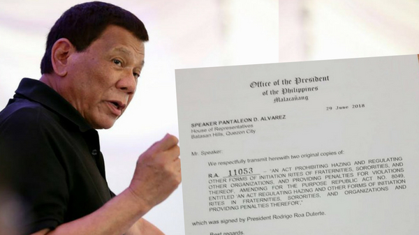 Duterte signs law banning all forms of hazing