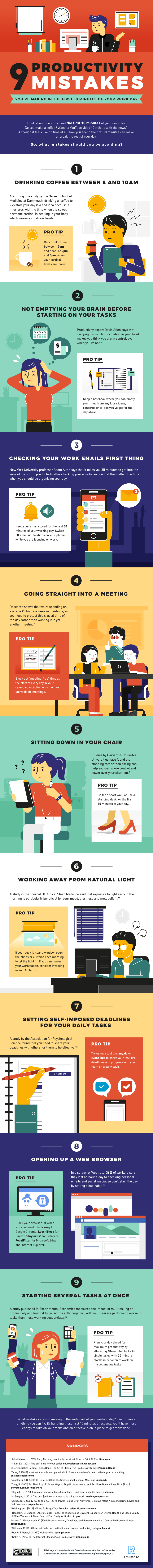9 Productivity Mistakes You're Making in the First 10 Minutes of Your Work Day #infographic