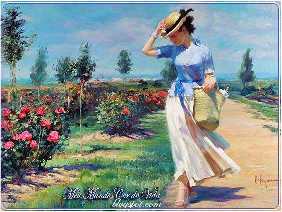 mulher passeando no roseiral