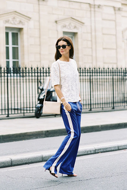spring 2016, spring trends, track pants, side stripe pants, street style, athleisure, lace top