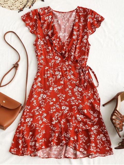 Tiny Floral Ruffle Mini Wrap Dress