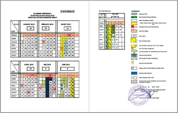 Kalender Pendidikan Provinsi Jawa Tengah Tahun Pelajaran 2018-2019