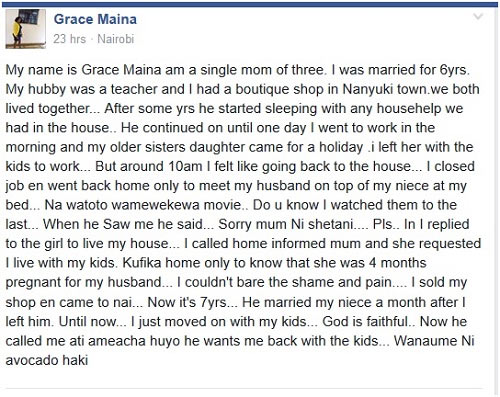 Kenyan woman narrates how her hubby dumped her and married her niece