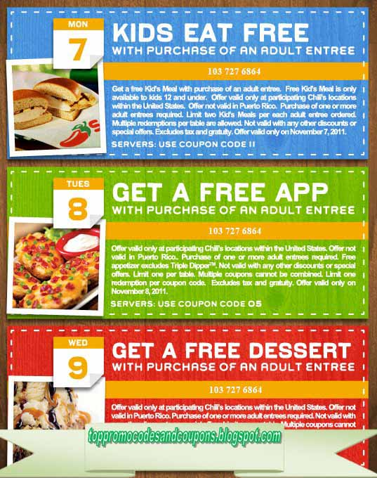 graphic regarding Printable Chili's Menu titled Free of charge Promo Codes and Discount codes 2019: Chilis Discount codes