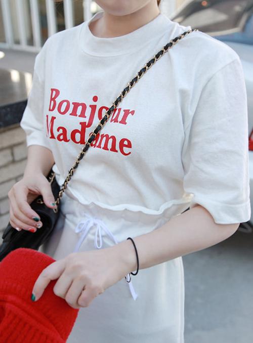 Lettering Print Half Sleeve T-Shirt