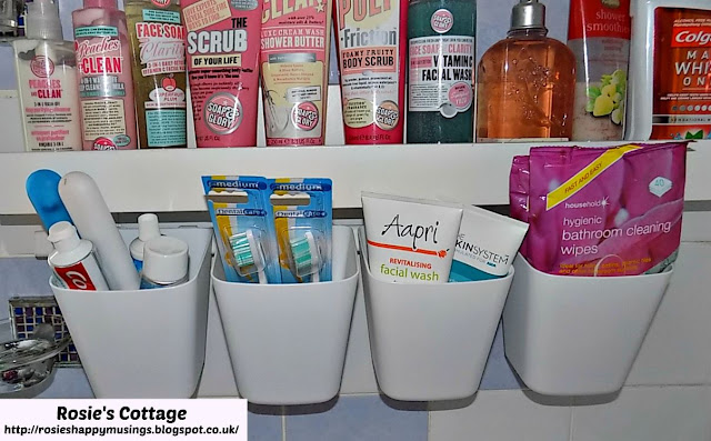 Sunnersta rail and containers act as extra storage in our bathroom