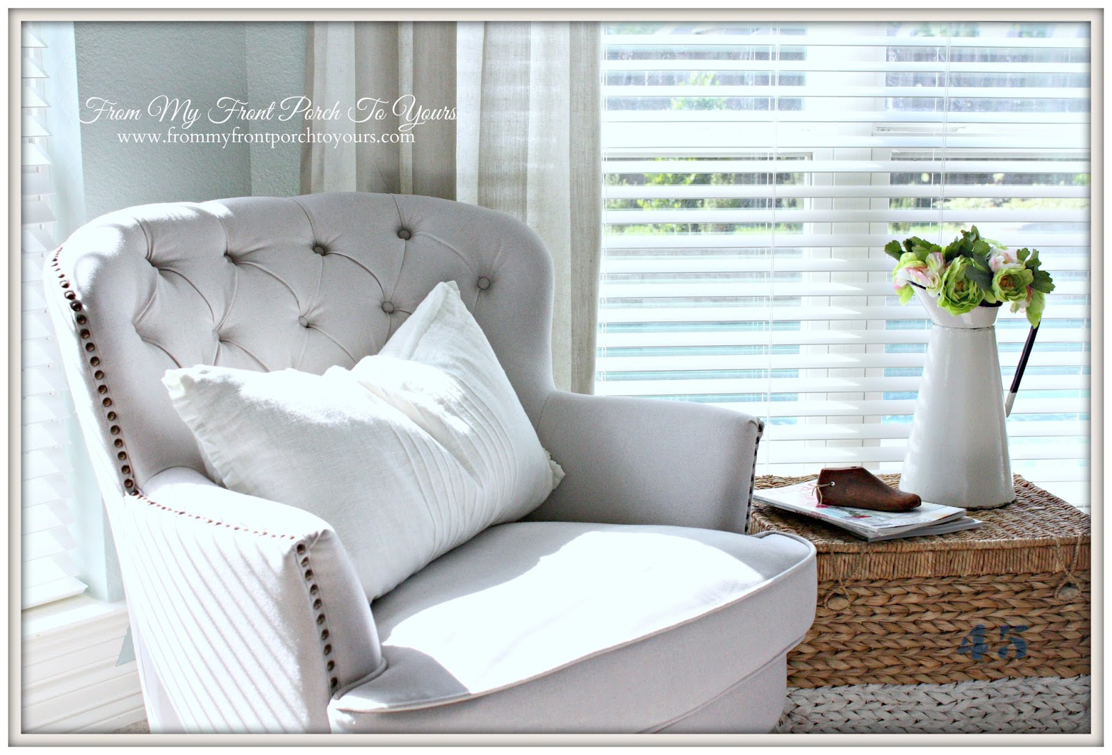 From My Front Porch To Yours- French Farmhouse Bedroom Linen Club Chair