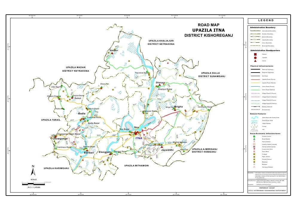 Itna Upazila Road Map Kishoreganj District Bangladesh