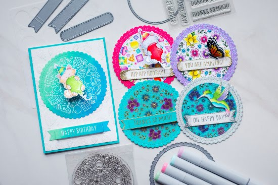Five Incredible Roundabout Cards by June Guest Designer Amy Tollner | Floral Roundabout Stamp Set, Birthday Roundabout Stamp Set, Hummingbird Stamp Set, Monarchs Stamp Set, Circle Frames Die Set, Balloons Stencil, Banner Trio Die Set and Newton's Birthday Bash Stamp Set by Newton's Nook Designs #newtonsnook #handmade