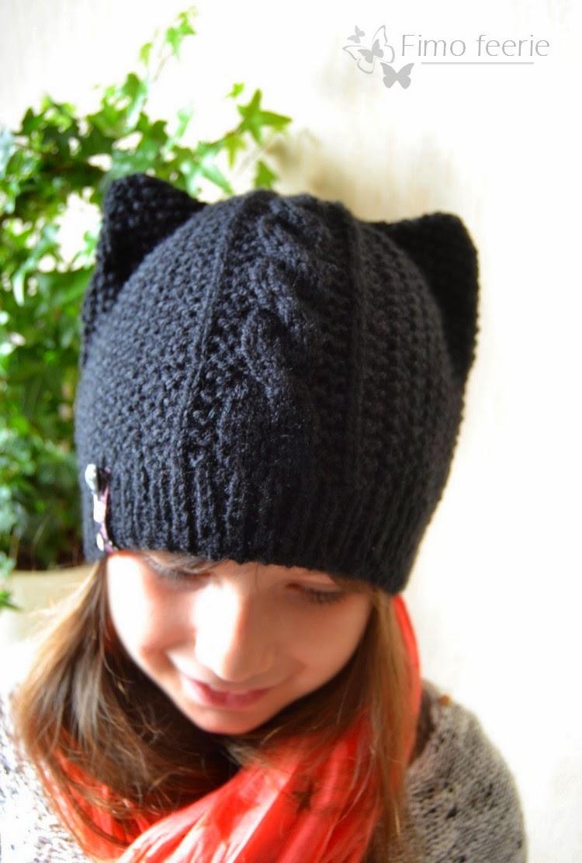 tricoter un bonnet chat adulte