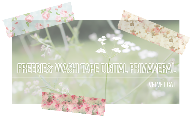 digital washi tape floral freebie