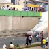 Lagosians use faeces to put out fire in burning vehicle