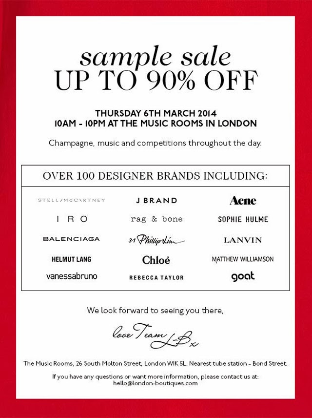 7d2a72950510 London Boutiques are throwing open the doors to London's Music Rooms to  welcome you into a discount extravaganza. This sample sale is not to be  missed ...