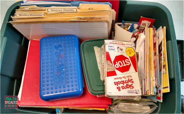 photo of inside the bin filled with data sheets, iep related tasks and file folders