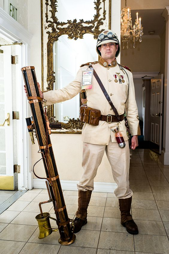 Steampunk british officer in the Queen's Army. Men's steampunk cosplay for military