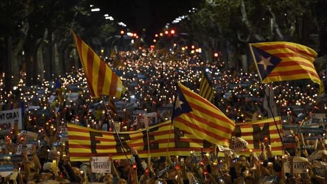 Protesta en Barcelona por el arresto de líderes independentistas
