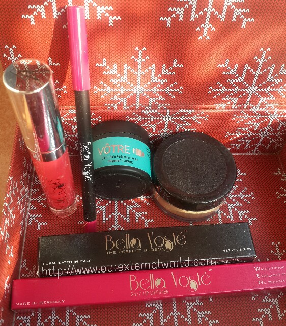 My envy box, lip gloss, lip liner, skin cream