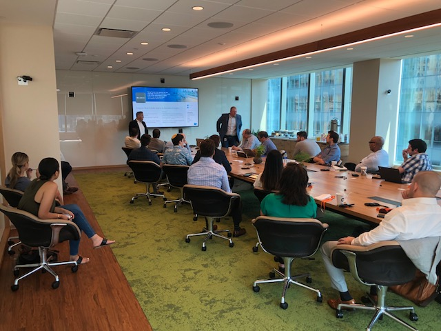 Tigh Loughhead talking about Sales Cloud and Pardot Success at the Salesforce ABM Breakfast at Salesforce Tower