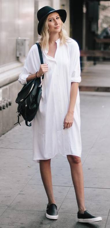 cool casual outfit: long shirt + hat + bag + sneakers