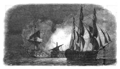 El Real Carlos y el San Hermenegildo en llamas