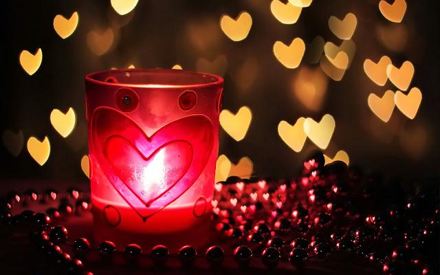 Lichtjes in de vorm van liefdes hartjes