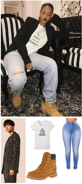 Rihanna Fashion : We Should All Be Feminists Shirt Outfit Rihanna Outfits