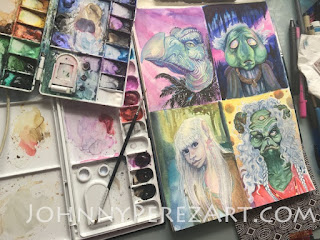 Watercolor portraits by Johnny Perez, Dark Crystal by Jim Henson characters