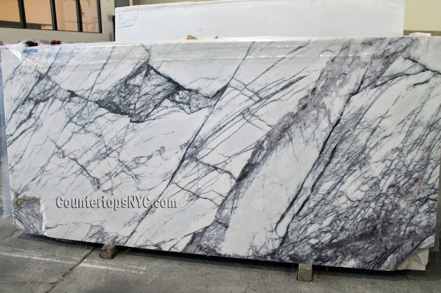 White Milas Lilac marble slabs for countertops
