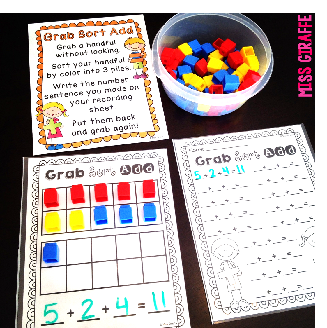 Adding 3 numbers games and activities for math