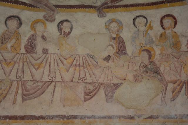 Détail de la Cène, dernier repas du Christ avec ses apôtres. Sur la droite, à gauche du Christ, Saint Pierre est reconnaissable à sa clef. Judas, lui, est agenouillé.