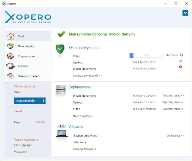 """Aplikacja kliencka Xopero w trakcie wykonywania kopii zadania nazwanego """"video"""""""