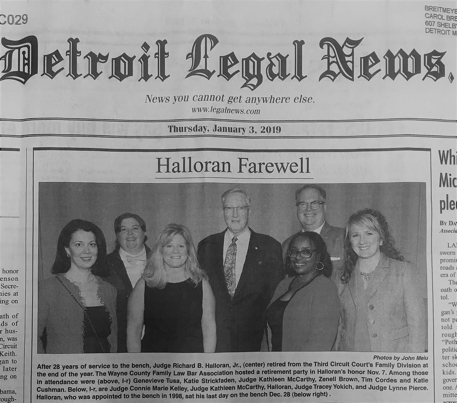 The Michigan Divorce Report: January 2019