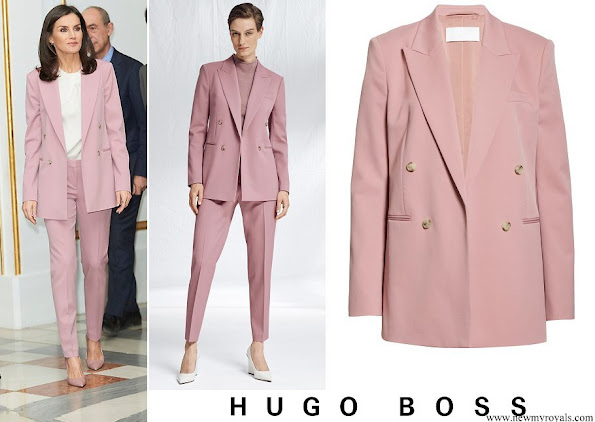 Queen Letizia wore Hugo Boss Jericoa stretch wool double-breasted blazer and trousers