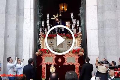 Salida del Cristo de las Tres Caidas de Madrid titular de la hermandad de tres caidas y esperanza tras su bendicion en la catedral de la almudena
