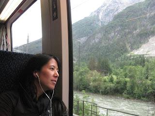 Enjoying the train ride back to Salzburg