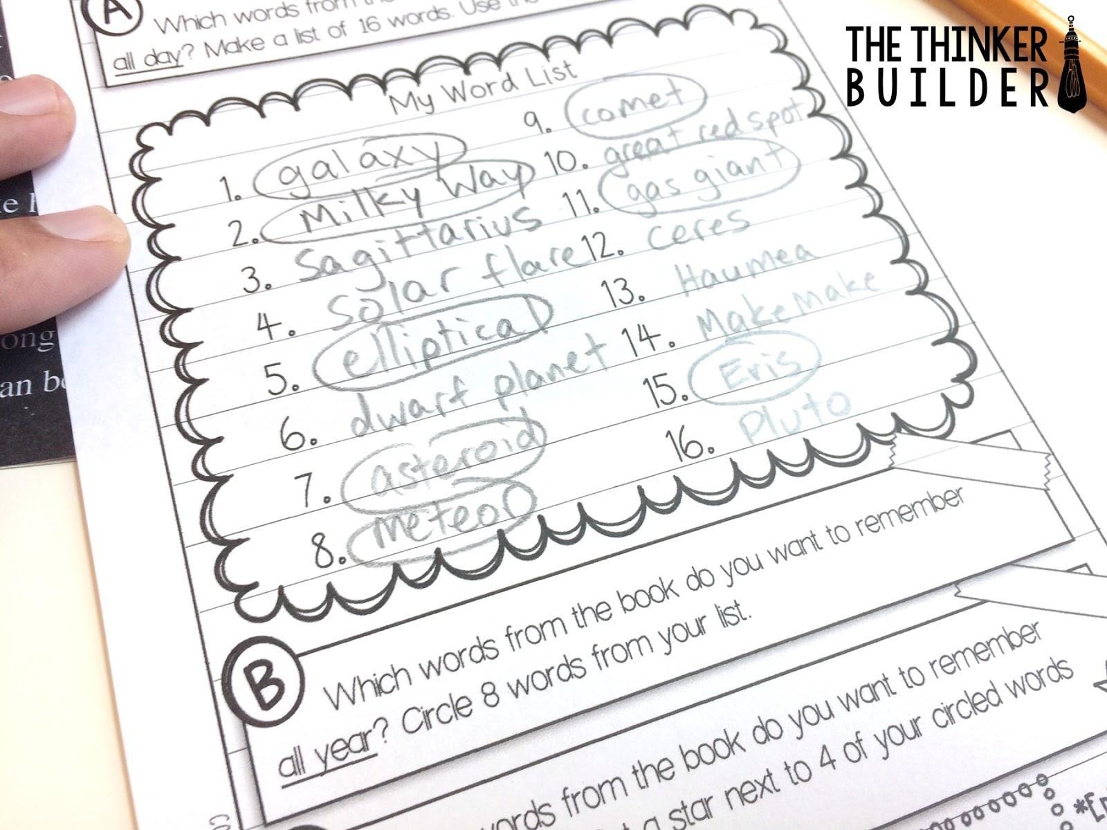 Student Led Vocabulary Work