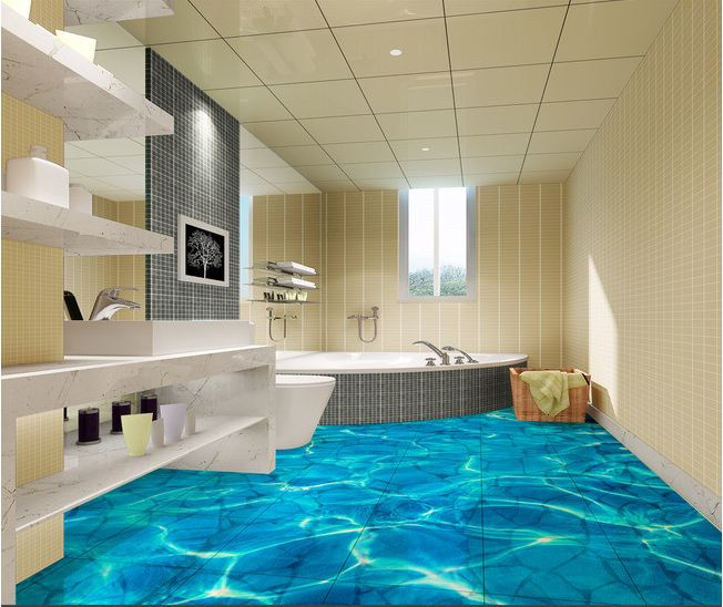 3D Tile Floor Pattern For Elegant Modern Bathroom Interior Design