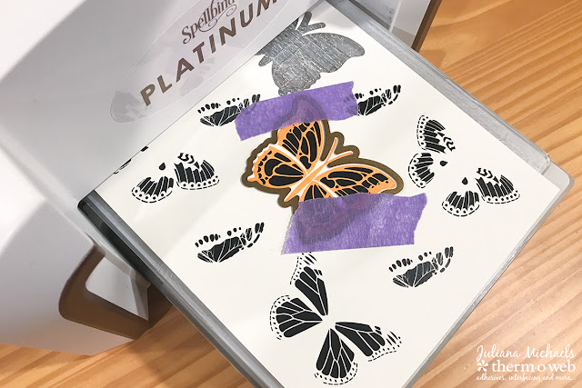Die Cutting with Therm O Web Purple Tape Gina K Designs Butterfly Wishes Stamp and Die Set