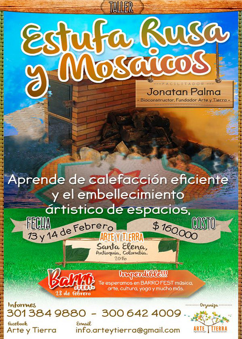 Taller de estufa rusa y mosaicos en Colombia