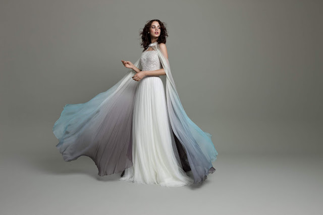 K'Mich Weddings - wedding planning - ombre wedding dress with cape - Daalarna Couture Collection