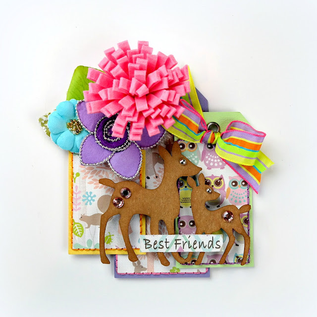 Best Friends Hand-Stitched Whimsical Deer Tag by Dana Tatar for FabScraps - Woodland Friends Collection