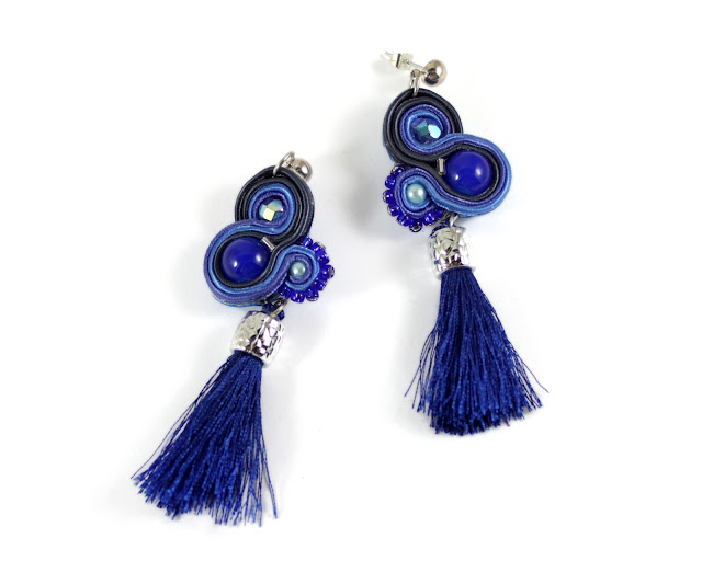 Navy blue tassels soutache earrings, soutache handmade jewelry.Colorful jewelry for every ocasscion, soutache for wedding, party,