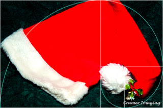 Cramer Imaging's guide for the golden mean or snail shell spiral composition technique overlayed on a Santa hat photograph