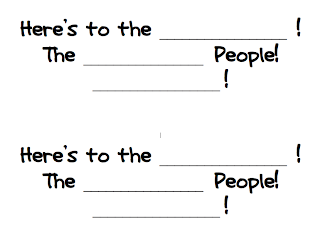 "Grade ONEderful: ""Here's to the ___! The ___ People! ___!"" Writing template for Grade 1 students based on David Elliott's book ""And Here's to You!"""