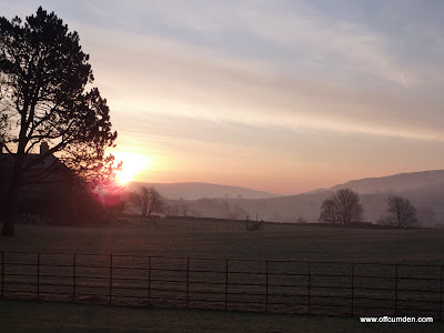 Sun rising over frosty Yorkshire Dales