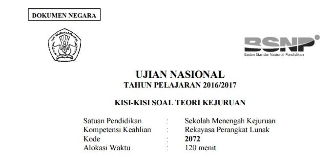Download Kisi Kisi Soal Teori Un Smk Jurusan Rekayasa Perangkat Lunak Rpl Smk Negeri 3