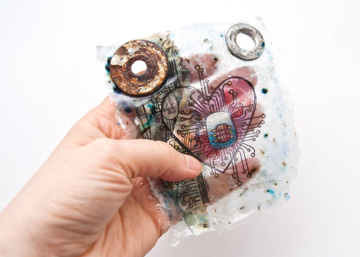 You can see right through the PaperArtsy Found Object Gel Skin by Kim Dellow