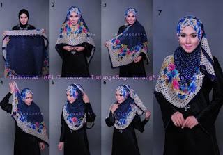 Tutorial hijab segi empat motif untuk guru